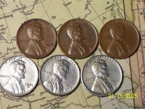 "1943/44--P,D, and S @  ""6 SUPER""  Lincoln Wheat Pennys"""