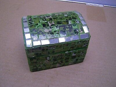 Glass Covered Mosaic Wood Jewelry Box - Green - Mexico