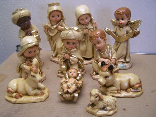Medium Tonala 11-Piece Hand Painted Clay Nativity Set, Earth Tones - Mexico