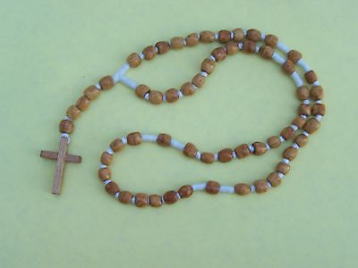 Beautiful Hand-Tied Wooden Rosary, Natural Wood Color - Mexico Color Wooden Rosary Wood
