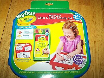 New Crayola My First Washable Color and Erase Activity Set Mat Sheets Crayons](Erasers And Crayons)