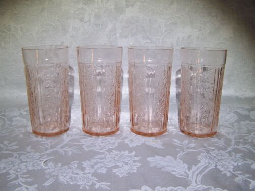 """Cabbage Rose Pink Depression Glass (4) 5 1/8"""" 12 Oz TUMBLERS Very GOOD Condition"""