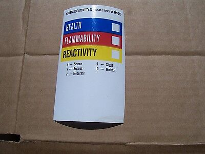 Lot Of 25 Msds Right To Know Label Sticker  5x3  Paper With Sticky Back