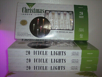 Vintage Everglow Icicle Christmas Holiday Lights lot of (4)