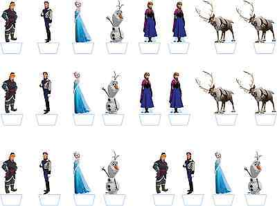 24 Disney Frozen Stand-Up Edible Rice Paper Birthday Cupcake Cake Toppers ()