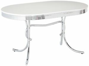 Coaster 2065 Cleveland, Chrome Plated, Oval Retro White Finish Top Dining  Table