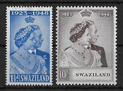 SWAZILAND 1948 Mint LH Silver Jubilee Complete Set of 2 Stamps SG #46-47 VF