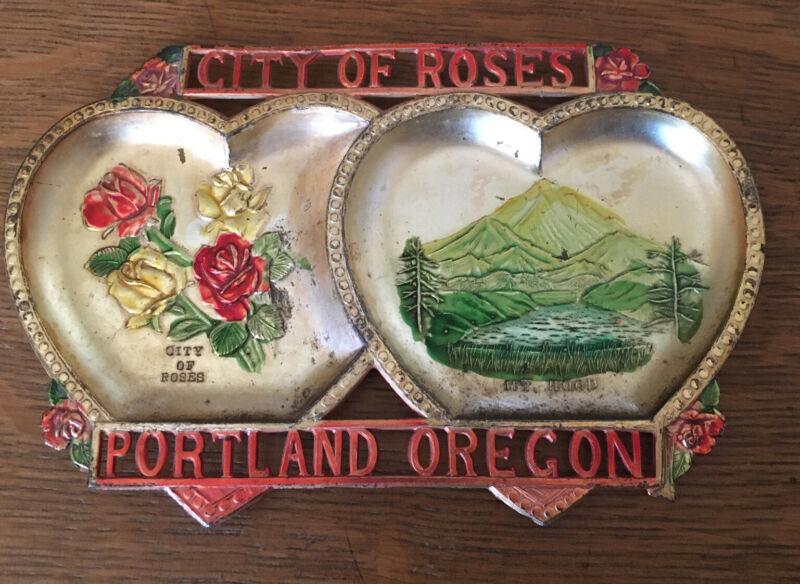 1950's Portland Oregon City Of Roses Mt Hood Metal Ashtray