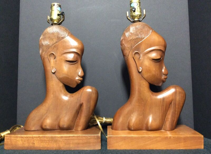 Pair of Vintage Nubian Women Hand Carved Mahogany Lamps