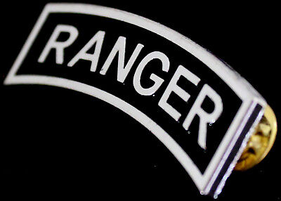 US Army RANGER Tab Insignia Metal Badge SILVER Pin Large Size Free Shipping