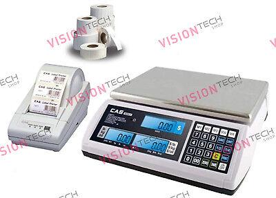 Cas S2000jr Price Computing Scale 60lb X 0.01lb Dlp-50 Printer Label 12rolls