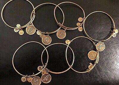 Authentic Alex and Ani Charm Bangle Bracelet Initial in Gold A B C E G M N  B C Gold Bracelets