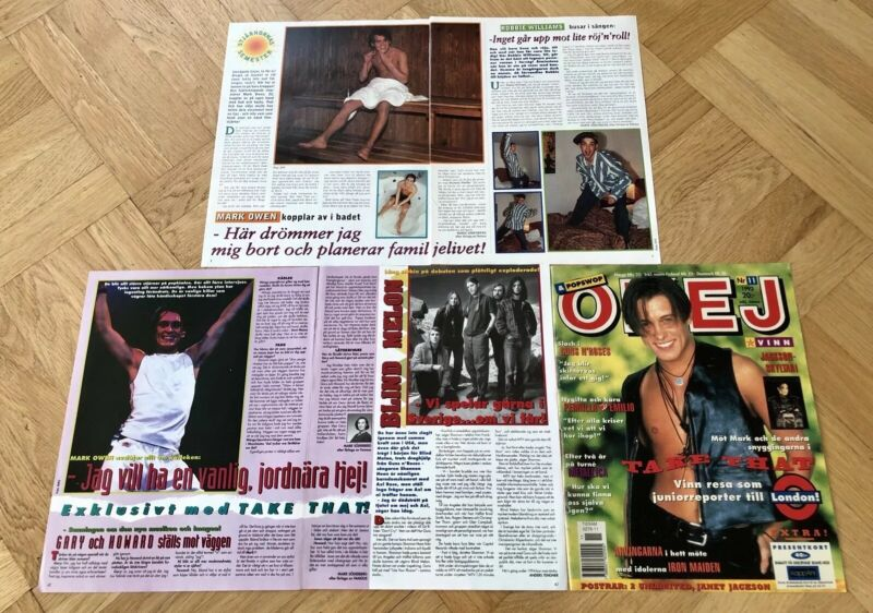 TAKE THAT 1990s MARK OWEN Clippings Posters Swedish magazine Okej Vintage