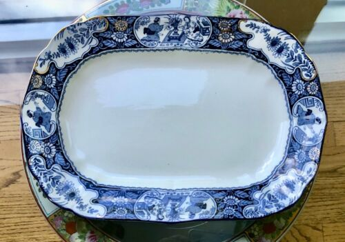 """Vintage Blue and White Wood And Sons England buddha platter 11"""""""