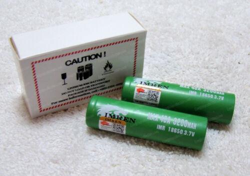 4pcs IMREN 3200mAh 40A High Drain Rechargeable Battery Flat Top 3.7V
