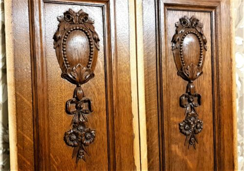 2 Bow ribon flower medaillon carving panel Antique french architectural salvage