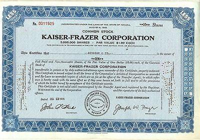 Kaiser-Frazer Stock Certificate Blue