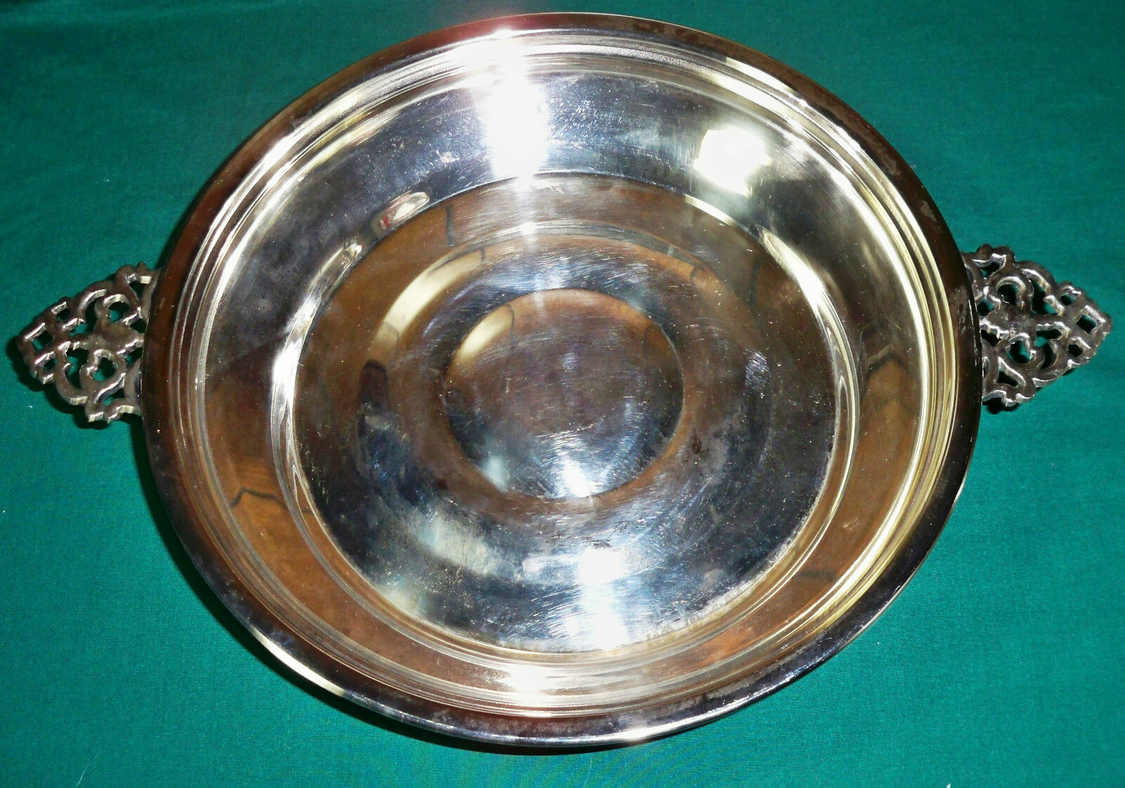 vintage english silver mfg corp silverplate footed serving bowl picclick uk. Black Bedroom Furniture Sets. Home Design Ideas