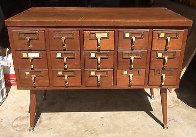 SOLID WOOD 15 DRAWER ANTIQUE CARD CATALOG! WOODEN VINTAGE MID-CENTURY RETRO