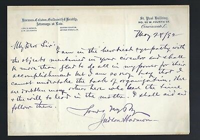 Judson Harmon signed letter 41st US Attorney General for Cleveland