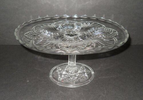 "Vintage Elegant Ornate Pressed Glass 9"" Pedestal Cake Plate Dessert Tray"