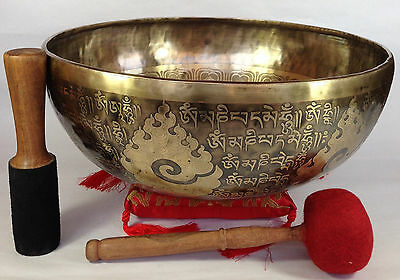 "12"" Healing Mantra Carved Meditation Tibetan Singing Bowl, Hand Hammered Singing"