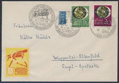 Bund Briefmarkenausstellung 1951 Ersttagsbrief mit Ausstellungsvignette (S15183)