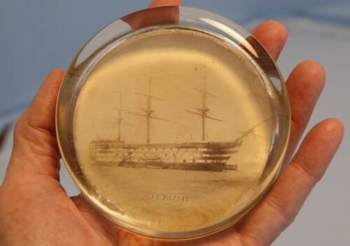 19th C Glass HMS Victory Paperweight Portsmouth Lord Horatio Nelson Trafalgar