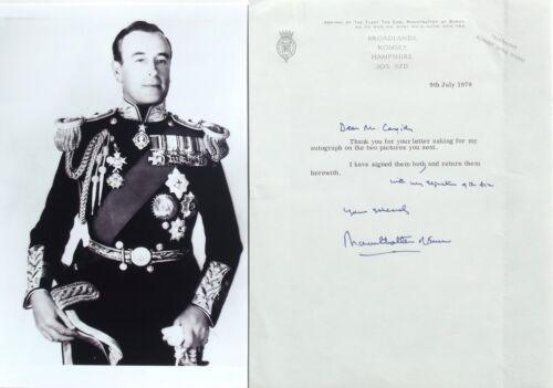 Louis Mountbatten 1st Earl Burma WWII British Admiral & Statesman Signed Letter.