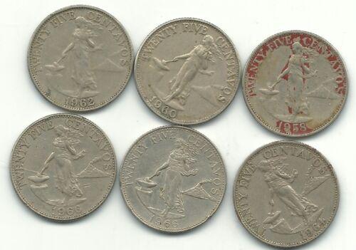 BETTER GRADE LOT 6 PHILIPPINES 25 CENTAVOS-1958,1960,1962,1964,(2)1966-JUL293