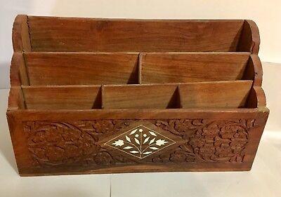 Vintage Carved Wood Letter Holder Desk Organizer 12x4x7