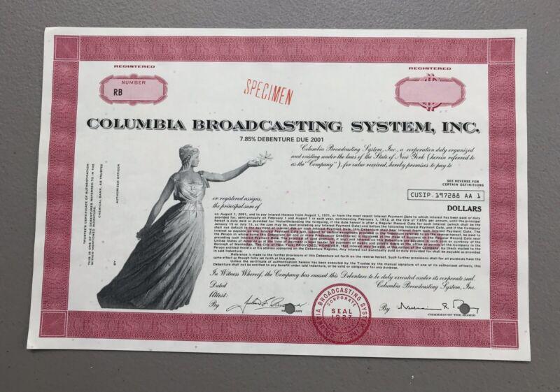 SPECIMEN - CBS Inc. Bond Stock Certificate - Columbia Broadcasting System