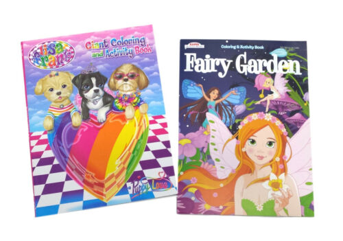 Set of 2 Lisa Frank & Fairy Garden Kids Coloring Book and Activity Books Set