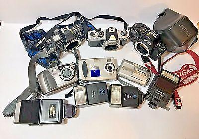 Camera Lot Nikon Sigma Fuji Toshiba Minolta Flash Vivitar Sunpak AS IS