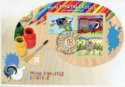 Estonia 2018 FDC My Gift to Estonia Children's Drawings 3v M/S Cover Art Stamps