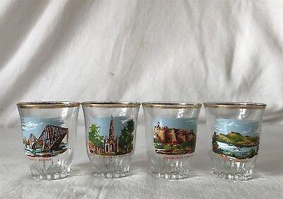 4 Vintage Matching Scottish Landmark Themed Shot Glasses c1960s Made in France