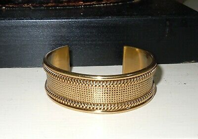 RUSTIC CUFF GOLD TONE BRACELET ROPE/BEAD DESIGN 3/4 INCH WIDE WITH BAG