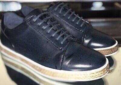 Zara Man 2872 Navy Leather Sneakers/Espardrille Trim Mens Shoes  SZ 41/8 M