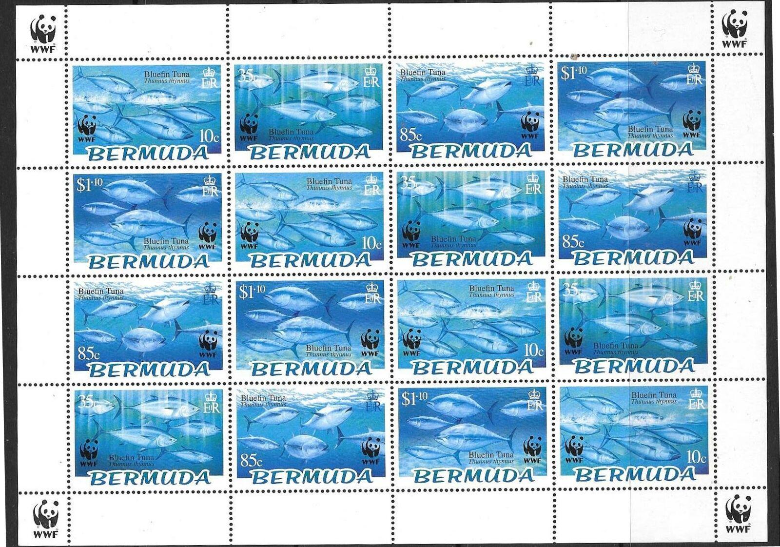 BERMUDA SG938/41 2004 BLUEFIN TUNA SHEETLET MNH