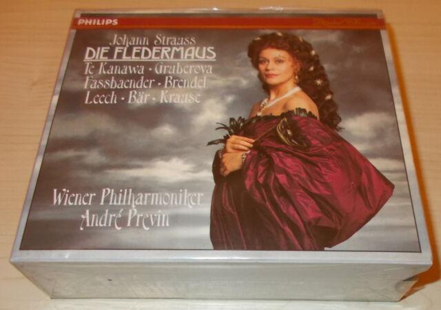 J STRAUSS-DIE FLEDERMAUS-2xCD 1991-PREVIN/KIRI TE KANAWA-FULL SILVER RINGS-MINT