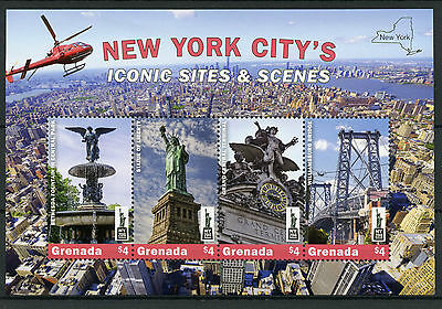 Grenada 2016 MNH New York City Iconic Sites NY2016 4v M/S Statue Liberty Stamps