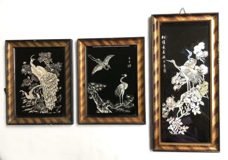 Vintage Asian Mother of Pearl Wall Art - Bird Theme and Framed - Set of 3