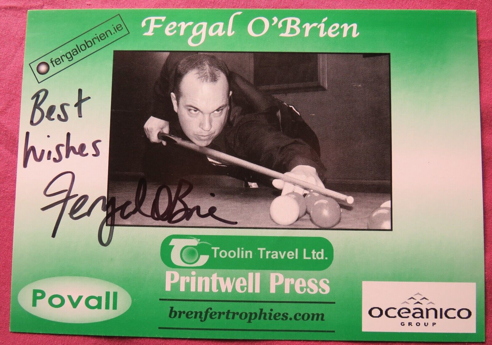 Fergal O'Brien signed Snooker Promotional Advertising card