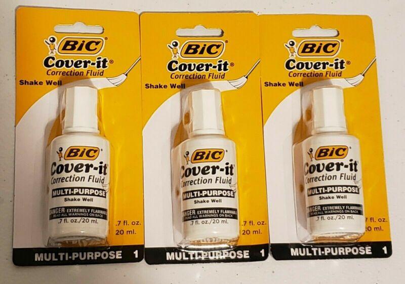 BIC Cover-It Correction White Out Multi Purpose .7 fl oz (20ml) LOT of 3