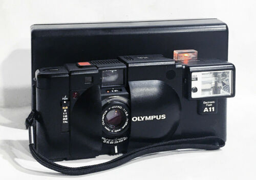 Olympus XA 35mm Compact Rangefinder Camera w/ A11 Flash & Case *New Seals* MINT-