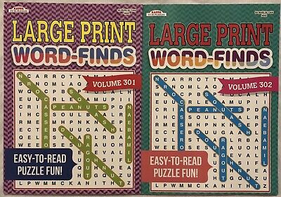 New 2 Large Print Word-Finds Puzzle Books Kappa Games Hobby Search FREE Shipping