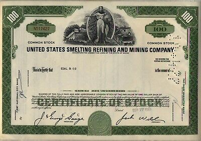 United States Smelting Refining & Mining Company Stock Certificate