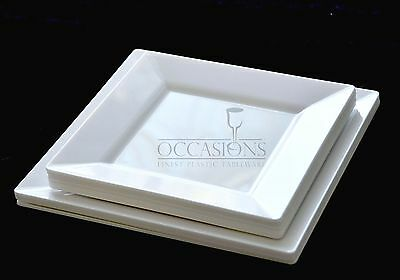 Bulk, Disposable Wedding Square Plastic Plates  and Bowls - White Plastic Plates
