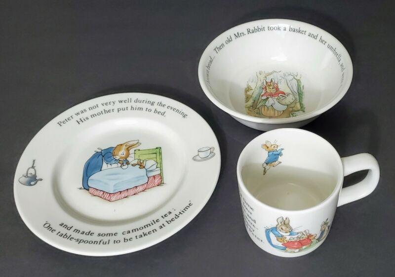 ETRURIA BARLASTON WEDGEWOOD PETER RABBIT BEATRIX POTTER Child SET BOWL PLATE CUP