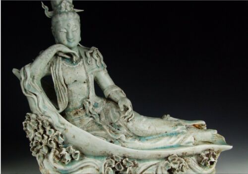 Qingbai Ware Jingdezhen Style Guanyin Buddha Porcelain Statue